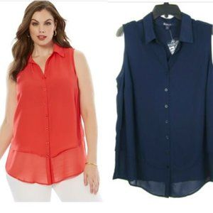 Roaman's 20W Tiered Blouse Navy Button Top NEW